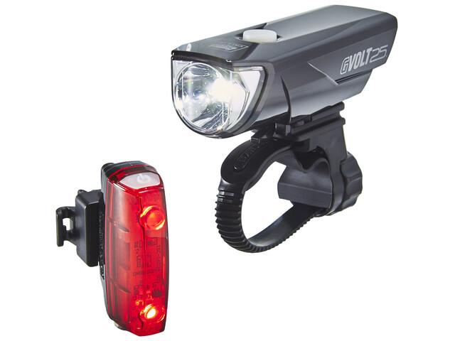 CatEye GVolt 25 HL-EL360GRC + Rapid Micro G HL-EL620G Set Zestaw oświetlenia czarny